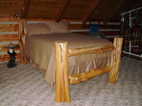 Handcrafted Beds - handmade cedar log bed by lakeys custom woodwork