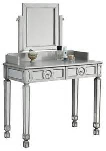 Silver Mirrored Vanity Set Mirrored 2 Drawer Vanity Brushed Silver Traditional