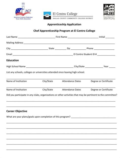 9 Apprenticeship Application Form Templates Free Word Pdf Excel Format Download Free Apprenticeship Template