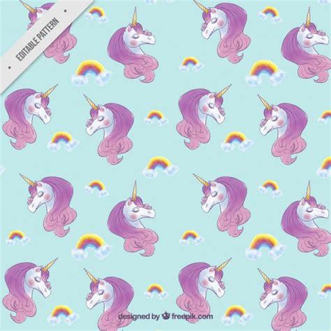 cute unicorn pattern cute unicorns with rainbows pattern vector premium download