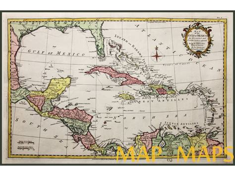 vintage gulf antique map of the gulf of mexico florida cuba bahamas by