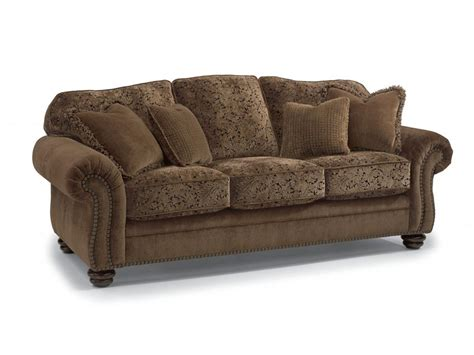 flexsteel living room two tone fabric sofa with nailhead