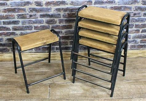 VINTAGE STACKING STOOLS, ORIGINAL RETRO SEATING FROM 1950s