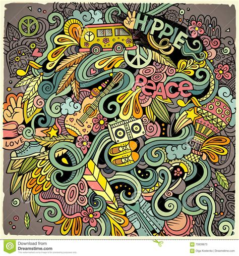 imagenes hippies vector cartoon hand drawn doodles hippie illustration stock