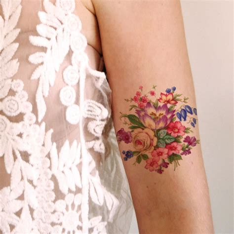 tinta tattoo temporary bandung pretty colorful vintage floral temporary tattoo tatuajes
