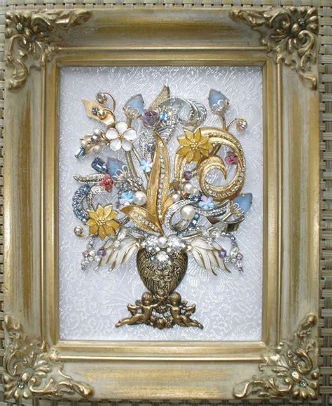 vintage rhinestone costume jewelry repurposed framed vintage rhinestone jewelry art framed flower bouquet tree
