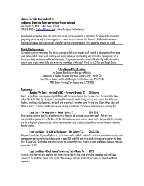 Sous Chef Resume by Jason Carlisle Knickerbocker Sous Chef Resume 2015