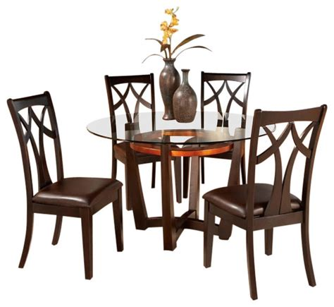7 Pc Dining Room Sets round glass top dining table set w 4 wood bac