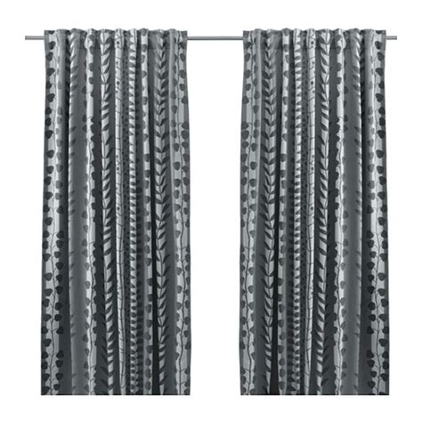 leaf curtains ikea ikea gunni curtains drapes 2 panels gray leaf stripe blackout