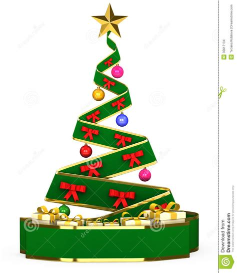 3d christmas tree with toys and gifts stock photo image