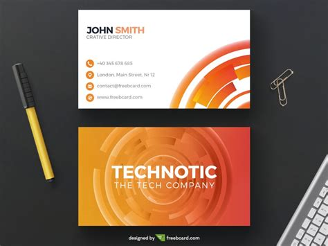 chrome extension to make business card template abstract orange technology business card freebcard