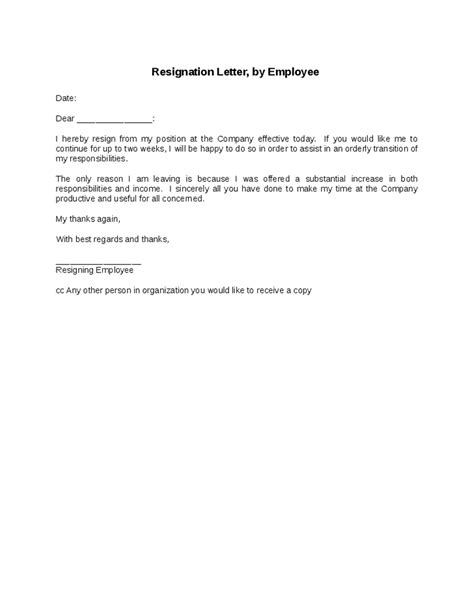 work resignation template work resignation letter