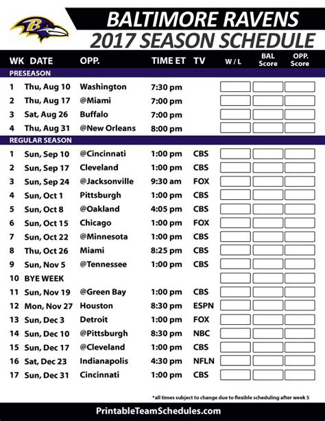 printable ravens schedule 38 best nfl football schedule 2017 images on pinterest