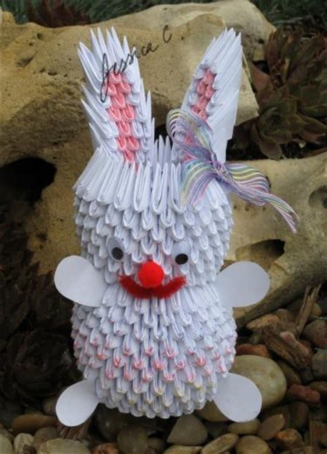 3d Origami Bunny - 3d origami white easter bunny by jchau on deviantart