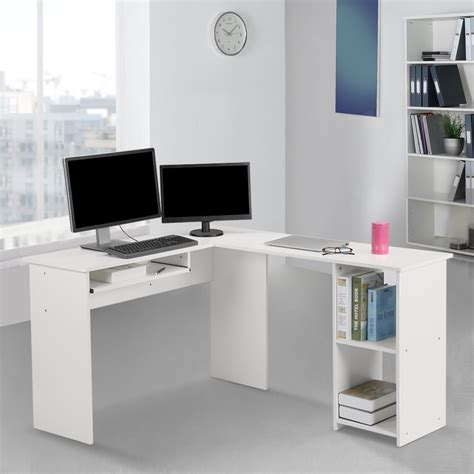 l shaped large corner computer desk with keyboard shelf