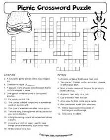 picnic crossword puzzle free printable learning