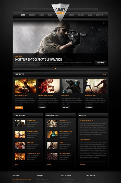 theme drupal gaming game portal moto cms html template 41867