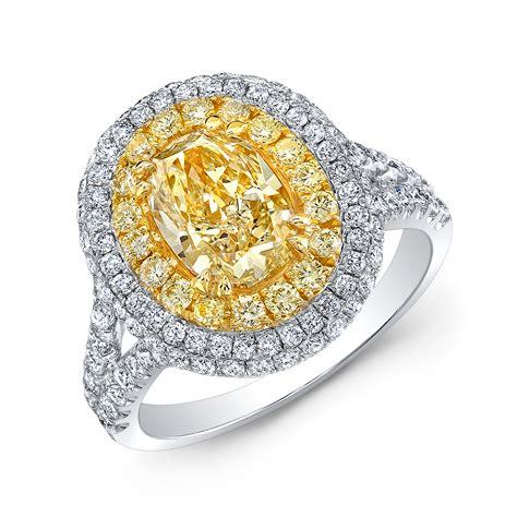 2 71ct oval fancy yellow 18k white gold halo split