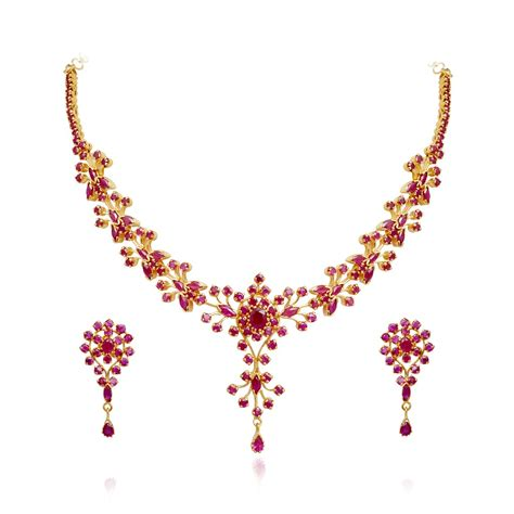 ruby 22 kt gold ruby necklace with earrings set grt