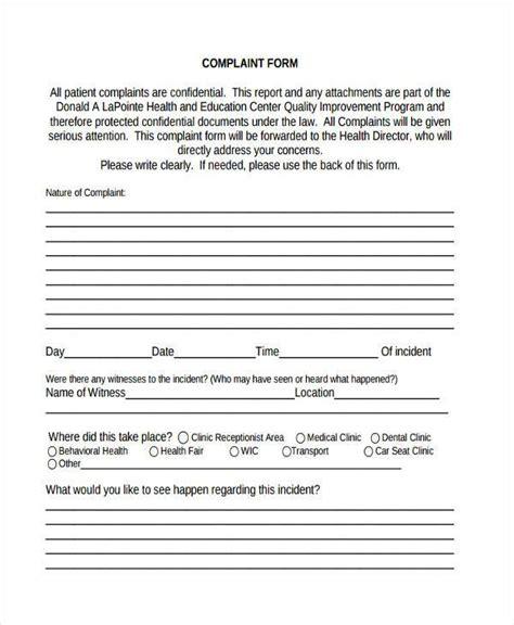 sample complaint form