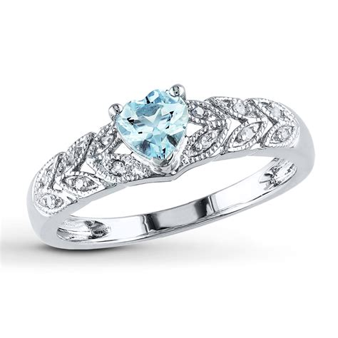 aquamarine ring 1 20 ct tw diamonds sterling