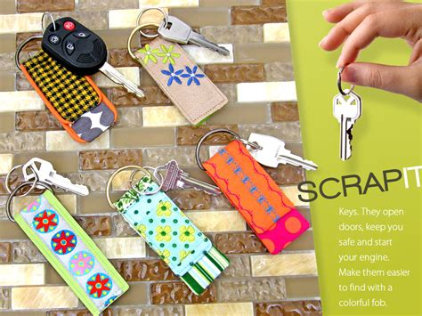 small craft projects with fabric scrap it mini key fobs sew4home