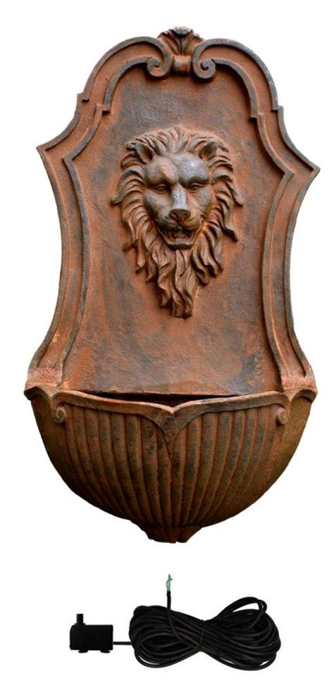 gentle lion head wall fountain water feature  ambiente