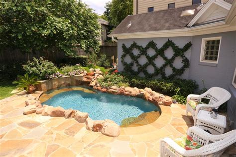 backyard spool backyard with flagstone deck and professionally installed