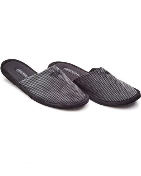 mens armani slippers uk emporio armani grey houndstooth slip on mule slippers