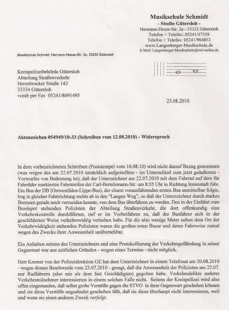 Zeugenaussage Schreiben Muster Widerspruch Gegen Die Schriftliche Verwarnung Anlage Zum Am 23 08 2010 Gesendeten Faxschreiben