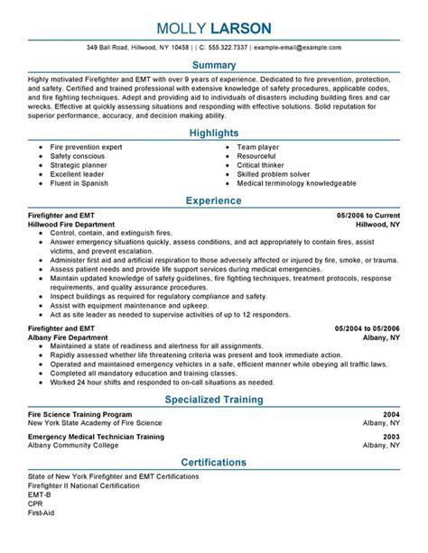Firefighter Resume by Professional Firefighter Templates To Showcase Your Talent