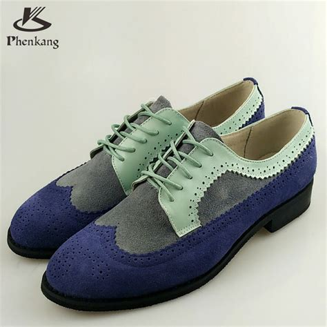 Handmade Shoesdark Blue Oxford Shoes - genuine leather flat shoes toe flats handmade