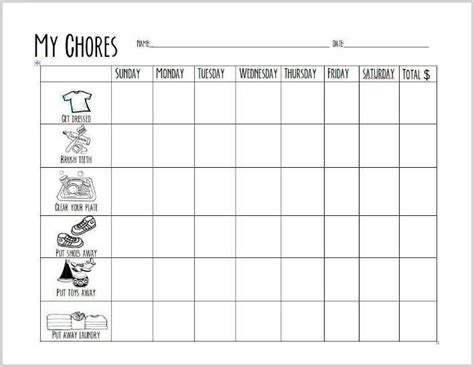 Free Printable Chore Chart For Preschoolers Preschool Chore Chart Template