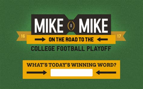 Mike And Mike Sweepstakes - mike and mike winning word road to the cfp sweepstakes