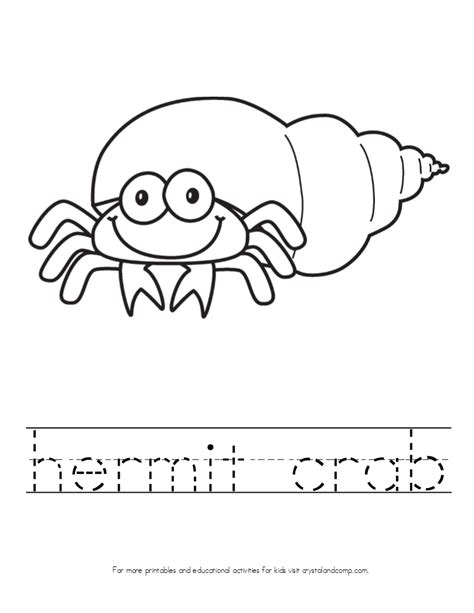 hermit crab template kid color pages theme