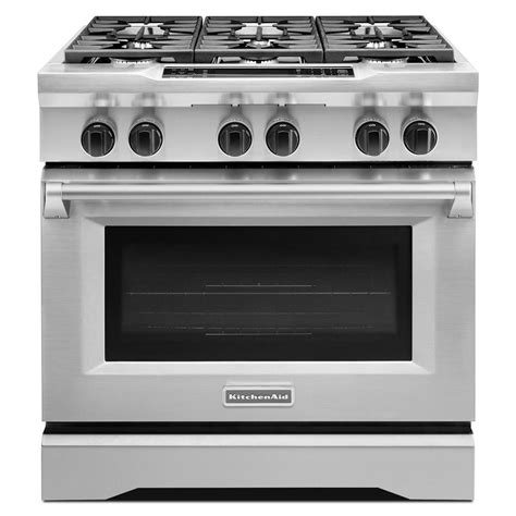kitchenaid 5 1 cu ft dual fuel freestanding six burner