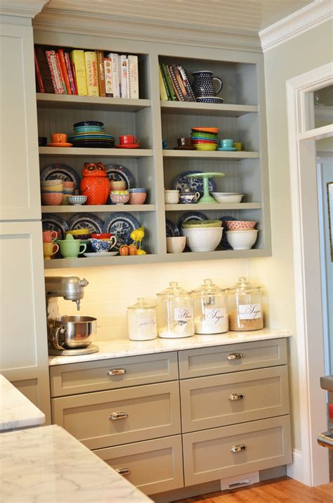 open shelves cabinet welcoming spirit kitchen inspiration gray cabinets open shelves and a desk
