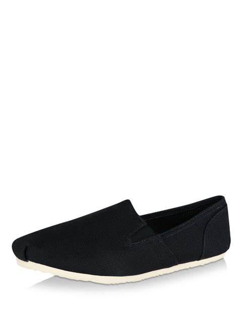 buy new look canvas slip on shoes for s blue