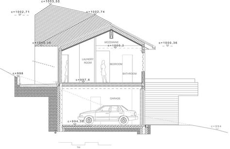 House Section Drawing by Cabin House Drawing