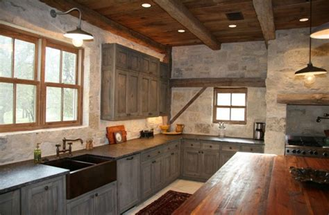 industrial barn lights shine in a rustic industrial kitchen barnlightelectric