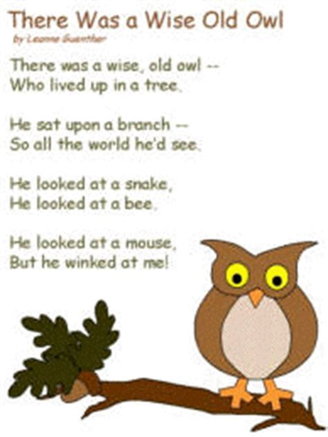 poem there was a wise old owl by leanne guenther