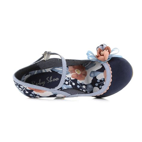 navy blue flower shoes womens ruby shoo navy pale blue floral flower high