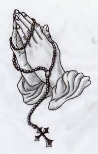 Praying hands with rosary tattoo designs clipart image
