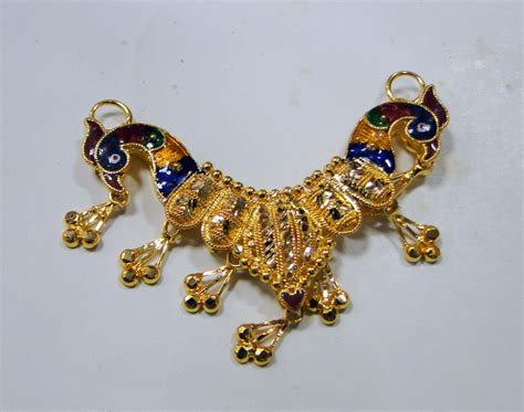 Handcrafted Gold Jewelry - 22k gold pendant necklace handmade indian peacock pendant