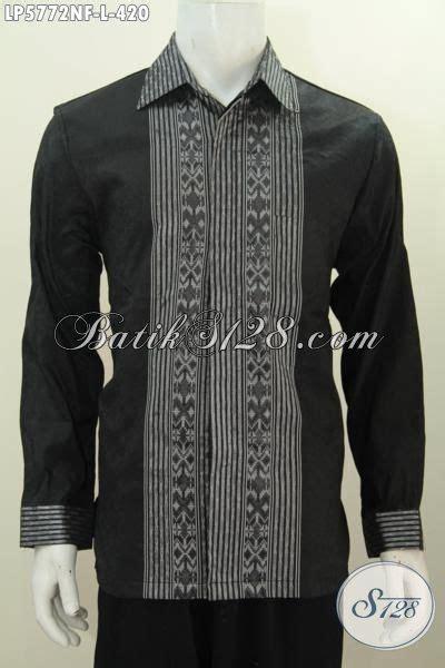 Kemeja Batik Lengan Panjang Motif Songket Prada Halus Ready Seragam kemeja lengan panjang mewah berbahan tenun halus warna hitam elegan pakaian tenun motif terbaru