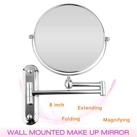 Wall Mounted Bathroom Folding Extending Arm Makeup 10x Extending Magnifying Bathroom Mirror
