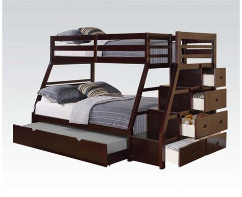 Jason Espresso Wood Twin Full Bunk Bed W Storage Ladder Wooden Bunk Bed With Trundle