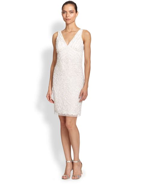 white beaded cocktail dress aidan mattox beaded v neck cocktail dress in white lyst
