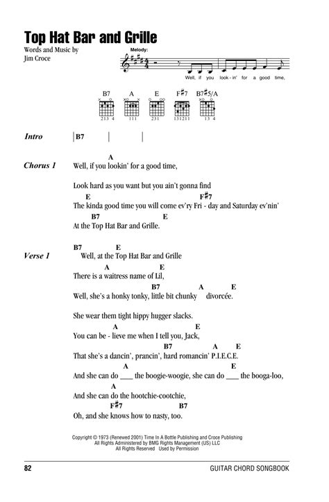 Jim Croce Top Hat Bar And Grill by Guitar Chord Sheet At Stanton S Sheet