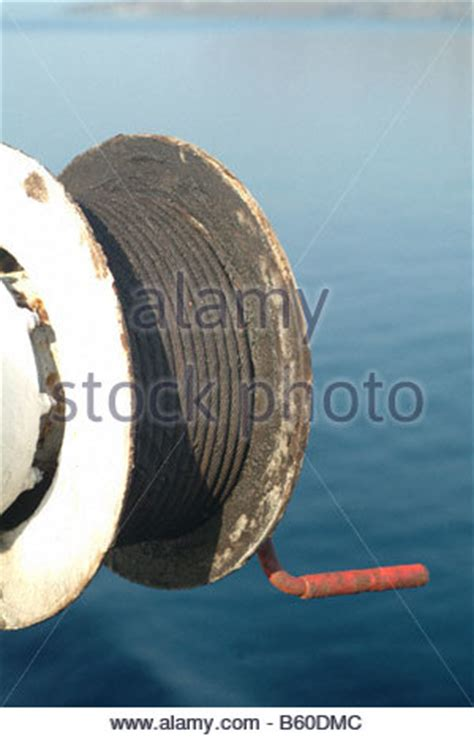boat winch pulley boat parts pulley cable steel winching drum close up